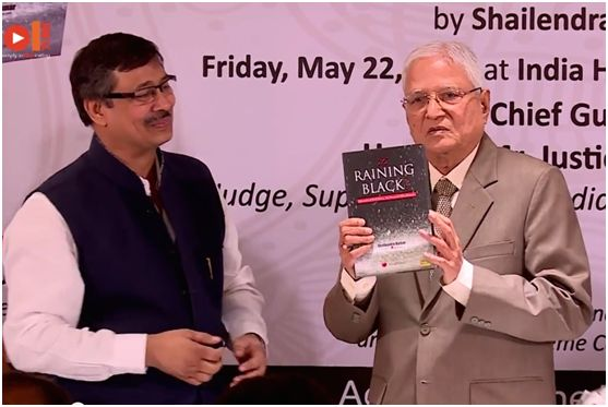 Justice MB Shah releasing the book 'It's Raining Black'